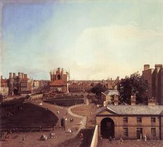 Whitehall and the Privy Garden from Richmond House as it appeared c.1747 with Banqueting House and the Treasury Gate.