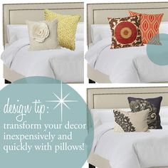 Design tip - decorating with pillows. How to decorate with pillows!