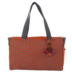 "Flower of Life Every Day Bag Terracotta/Grey - Global Groove (B). The ""Flower of Life"" bag is 9 inches tall by 15 inches wide and 4.5 inches deep, it features a clip-on toggle, zipped main pocket with inside zipped pocket and two side pockets that are perfect for your phone and sunglasses. Easy-wipe -clean and easy-see lining with 24-inch straps."
