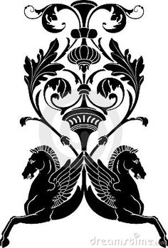 Illustration of ornamental composition with horse Pegasus. Stencil for decor