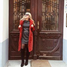 ❤️ #ootd#redcoat#fauxfur Ootd, My Style