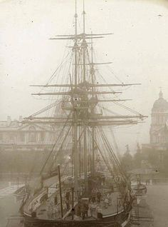 London England: Training ship at Greenwich, circa 1910 Victorian London, Vintage London, Old London, London History, British History, Baker Street, Old Pictures, Old Photos, London Docklands