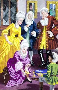 Cinderella -- The ugly sisters try on the slipper -- High quality art prints, framed prints, canvases -- Ladybird Prints