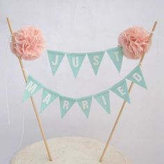 "Cake topper, wedding, Mint, Blush Pompom flower ""Just Married"" Banner I171 - shabby chic cake bannerwedding on Etsy, £21.51"