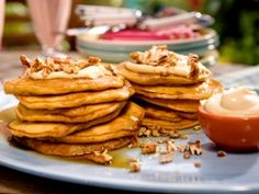 Carrot Cake Pancakes with Maple-Cream Cheese Drizzle and Toasted Pecans : Recipes : Cooking Channel