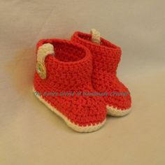 "€19. Crochet ""Carmine"" Booties for a Baby Girl 9+ months old. Ready to ship."
