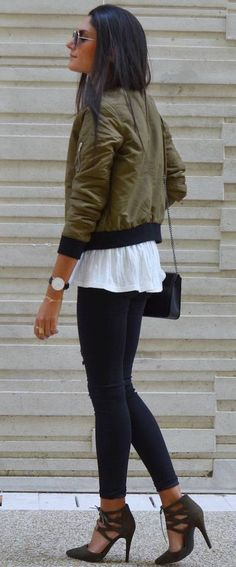 June Sixty Five Olive Bomber Jacket Fall Streetstyle Inspo
