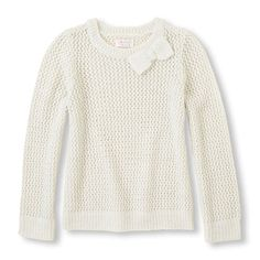 s Long Sleeve Metallic Bow Crew Neck Knit Sweater - White - The Children's Place