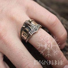 Bronze AUJA Runen Glück Mjölnir Thor Hammer nordischen Amulett