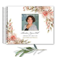 A beautiful photo memorial service guest book celebrating your loved one with a photo and custom poetry additions- making this the perfect commemorative for your loved and celebrating their life well lived. This is an 8.5 x 11 guest book.