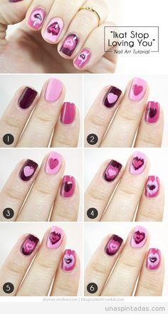 nail art en varios tonos de rosa y lila para san valentn uas pintadas