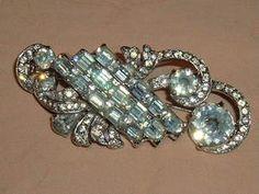 """Vintage Clear Crystal Sparkling Eisenberg Brooch Huge 3"""" Signed"""