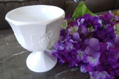 Milk Glass Compote by WhiteBarnHome on Etsy, $15.00