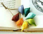 Handmade Birds Bead Set - Sampler Collection - Bright Rainbow Rustic Red Orange Yellow Green Blue