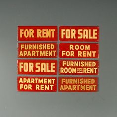 Vintage For Rent Sign - Retro Red Metal sign. Fanshawe Blaine