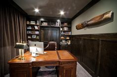 By Dark Wood And Chocolate-Brown Hues, This Masculine Office Inspiring Small Home Office Ideas For Men With Masculine Colors