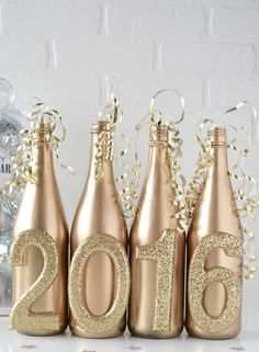 Save the Thanksgiving + Christmas sparkling cider bottles to do this for New Year decor