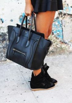 celine and isabel marrant sneakers - good association Black High Top Sneakers, Black High Tops, Wedge Sneakers, Sneaker Wedges, Wedge Heels, Fashion Moda, Look Fashion, Fashion Bags, French Fashion