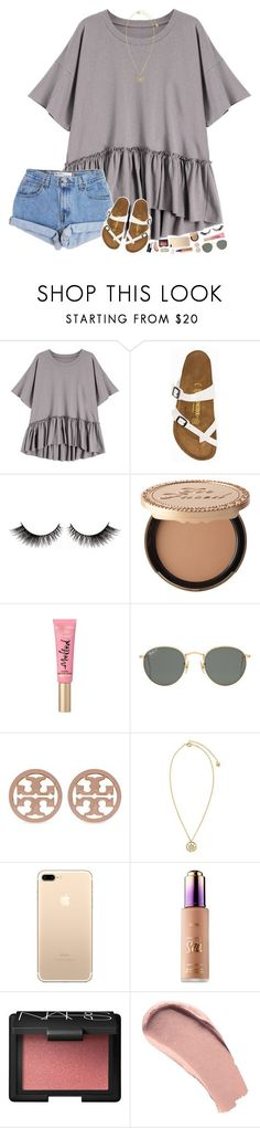 """he is risen! happy Easter "" by hopemarlee ❤ liked on Polyvore featuring Levi's, Birkenstock, Too Faced Cosmetics, Ray-Ban, Tory Burch, Versace, tarte, NARS Cosmetics, Burberry and hmsloves"