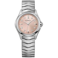 Ebel Wave Pink Galvanic Dial Ladies Diamond Watch ($1,280) ❤ liked on Polyvore featuring jewelry, watches, diamond jewelry, pink wrist watch, analog wrist watch, analog watches and ebel watches