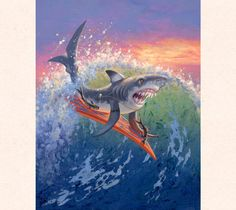 Fantasy Artist Tom Thordarson depicts a shark riding a giant wave atop a surfboard, part of his 'Surfing 'Aumakua Series'