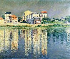 Gustave Caillebotte - Reflets de maisons dans l'eau de la Seine près d'Argenteuil