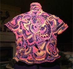 Gilet freeform crochet réalisé par Claudine Massa (tutos freeform 1 - 2 et 3)