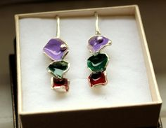 Color earrings, silver color earrings, authors colors, hand made earrings, unique jewelry, violet earrings, green earrings, red earrings