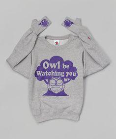 Loving this Heather Gray 'Owl Be Watching You' Glove-Cuff Sweatshirt - Kids on #zulily! #zulilyfinds