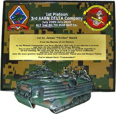 1st Platoon - 1st Lt James Thriller Smith - We can do any custom shield plaques according to customer's specification.