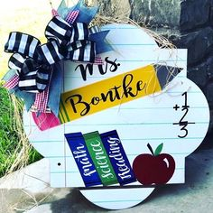 I think we can all agree that teachers are a godsend! 🙌 Send them a special thank you this year with a CUSTOM door hanger to show them how much you appreciate them! ☺️ Visit our website to see our many different shape options! Teacher Door Hangers, Teacher Doors, Custom Door Hangers, Personalized Wood Signs, Amish Furniture, Teacher Style, Front Door Decor, Classroom Decor, Teacher Gifts