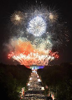 Fireworks over Buckingham Palace for the Queen's jubilee concert