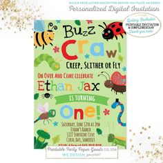Were buggin out birthday invitations bug party invitations were buggin out birthday invitations bug party invitations digital file party invitations birthdays and themed parties filmwisefo