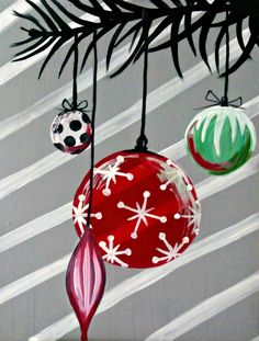 Hangin' Around for the Holidays - original by Cocktails 'n Canvas local artist Olivia Wodziszewski. Rating - Very Easy.