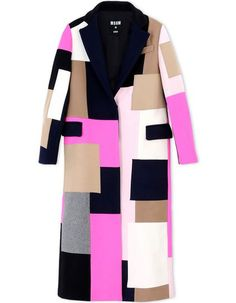 1 Lala Anthony's New York City MSGM Pink, Tan, Black, and Gray Fall 2015 Patch Coat