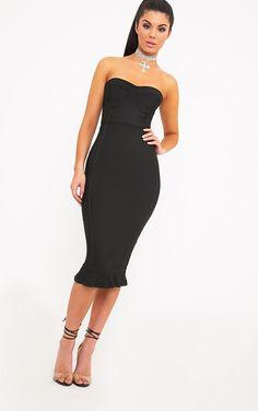Roxina Black Bandage Frill Hem Midi Dress