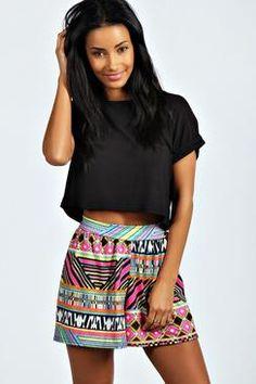 Mel Bright Aztec Print Flippy Shorts
