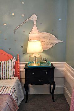 Beautiful design blog. A SALTBOX: Seabird wall hanging, heart decals, wainscot.