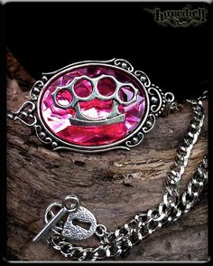 Pink Brass Knuckles Necklace // Knuckle Duster // by horribell