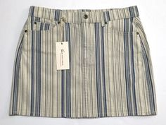 NEW Two by Vince Camuto Indigo Blue Striped Denim Skirt Size 10 $79    eBay