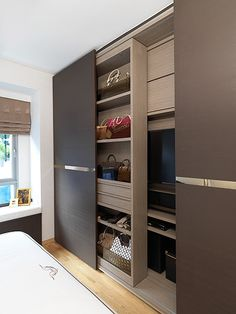 Hidden closet and entertainment center. so clever!