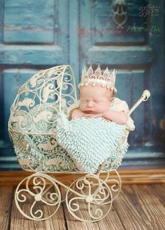 Baby crown! Newborn vintage cream lace Princess Crown by HushaByeCreations
