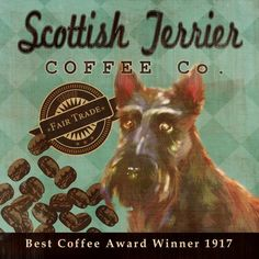 Scottish Terrier Coffee Co. - 12X12 Modern Vintage Giclee Print - Mixed Media - LHA-295-44
