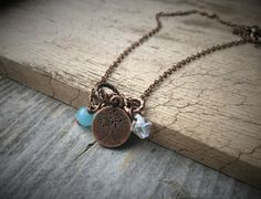 Tiny Copper Tree Of Life Charm Chain Necklace by McHughCreations