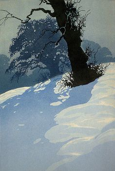 Oscar Droege, Black Tree Trunk in Snow, woodblock printing.