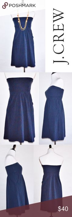 """Navy J. Crew Strapless Dress Navy J. Crew Strapless Dress 100% Cotton  No rips or stains. Non-slip band at top. Pockets. Can be dressed up or worn casual. Zipper on side.  Measurements Size 4-Chest:14"""" across / 28"""" around, Length:28""""  Bundle 2 items = 10% OFF Bundle 3 or more = MAKE OFFER ❌ No Trades J. Crew Factory Dresses Strapless"""
