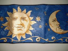 "Celestial Moon And Sun Wallpaper Border  15' x 7""      NEW #HomeTrends"