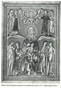 """Psalter of Landgraf Hermann von Thuering 1217 """"Paradise: Lazarus in Abrahams lap distributes the fruits of the eternal life."""" page 77 Vorgotische. Note the long sleeves but loose belted gowns with high round necklines."""