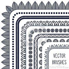 Ethnic hand drawn vector line border set and