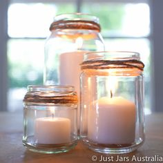 Candles in jars - twine around